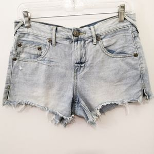 Free People Light Wash Distressed Denim Jean Short